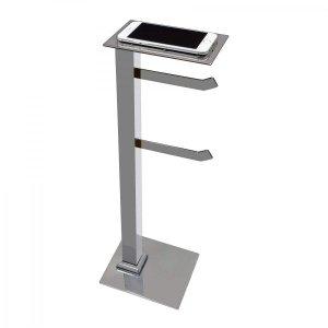 Papeleira de Chão Inox com Suporte para Celular Premium PR4079 Ducon Metais