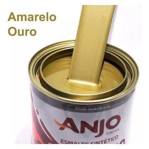 Tinta Amarelo Ouro Esmalte Sintético Metalic Plus 900ml Anjo