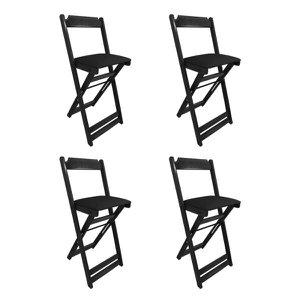 Kit 4 Cadeiras Bistro Dobravel de Madeira Estofada Preta - Preto