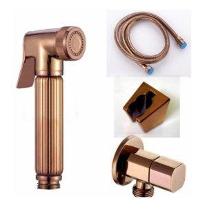 Ducha Higiênica Rose Gold Luxo Completa Banheiro Lavabo 1,5