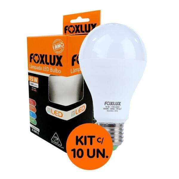Kit com 10 Lâmpadas LED Bulbo 15W 6500K Luz Branca Bivolt – Foxlux