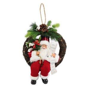 Guirlanda Rústica Papai Noel Sentado 40cm Cordão LED 10 Lâmpadas - Master Christmas
