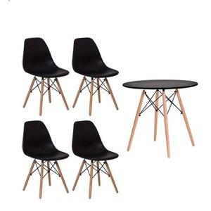 Conjunto kit Mesa Jantar Eiffel 90cm Preta + 4 Cadeiras Charles Eames Preta