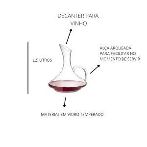 Decanter Jarra Para Vinho 1,5L Decantador Crital Italiano