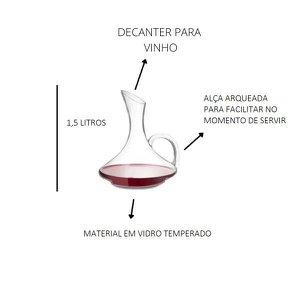 Decanter Para Vinho 1,5 Lts Vidro Wincy Melhor Decoração
