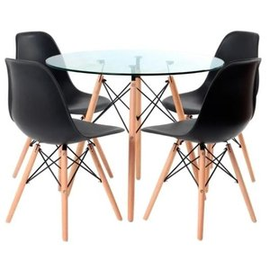 Conjunto Mesa Eames Eiffel Redonda Vidro 90cm + 4 Cadeiras Eames Preta