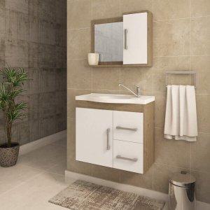 Gabinete de Banheiro 1 Cuba 1 Espelheira 2 Portas 2 Gavetas Vix MGM Móveis
