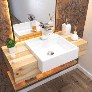 Cuba de Semi Encaixe para Banheiro XQ395 Quadrada Compace