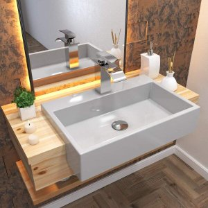 Cuba de Semi Encaixe para Banheiro XRT550 Retangular Compace