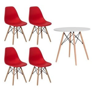 Conjunto kit Mesa Jantar Eiffel 90cm Branca + 4 Cadeiras Charles Eames Vermelha