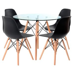 Conjunto Mesa Eames Eiffel Redonda Vidro 90cm + 4 Cadeiras Eames DSW - Preta