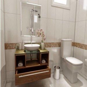 Gabinete para Banheiro Cuba com Espelho Tampo Vidro Bahrein I7