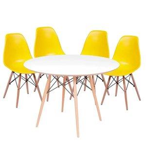 Kit Mesa Eames Branca com a Base de Madeira 90 cm + 4 Cadeiras Eames Amarela
