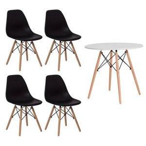 Conjunto kit Mesa Jantar Eiffel 90cm Branca + 4 Cadeiras Charles Eames Preta
