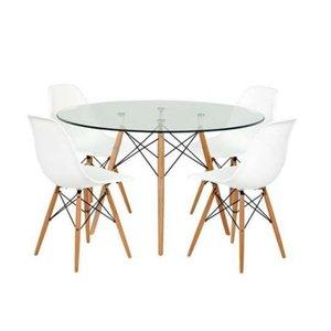 Conjunto Mesa Eames Eiffel Redonda Vidro 90cm + 4 Cadeiras Eames Branca